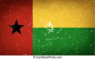Flags GuineaBissau with broken glass texture. Vector