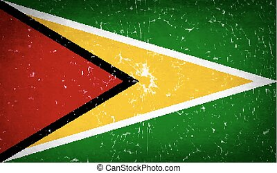 Flags Guyana with broken glass texture. Vector