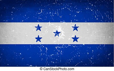 Flags Honduras with broken glass texture. Vector
