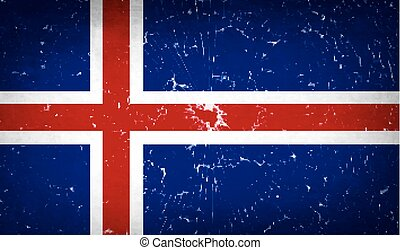 Flags Iceland with broken glass texture. Vector