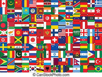 background made of world flags icons