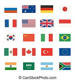 Flags icons - Simple flags icons of the countries in flat ...