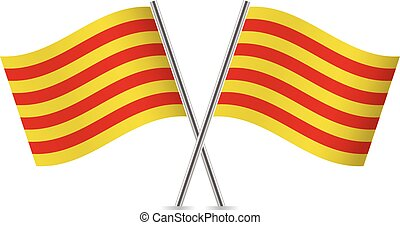 flags., illustration., vecteur, catalogne