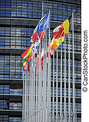 Flags in front of EU Parliament
