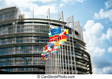 Flags in front of the European Parliament