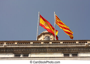 Flags in Generalitat palace