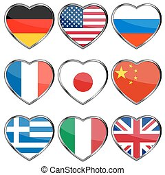 Flags in hearts - Collection of nine flags in hearts