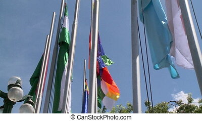 Flags in Plaza Pedro Murillo, La Paz, Bolivia - Close-up...