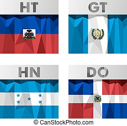 flags in polygonal style - flags of Latin America. Haiti,...