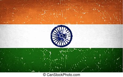 Flags India with broken glass texture. Vector