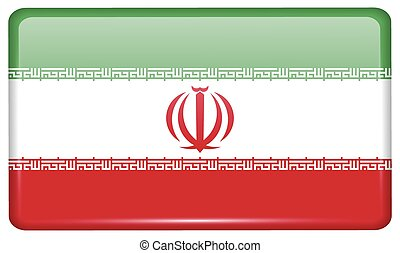 Flags Iran in the form of a magnet on refrigerator with...