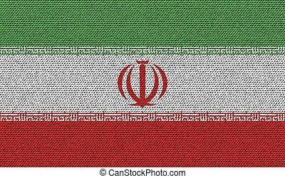 Flags Iran on denim texture. Vector - Flags of Iran on denim...