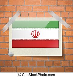Flags Iran scotch taped to a red brick wall - Flags of Iran...