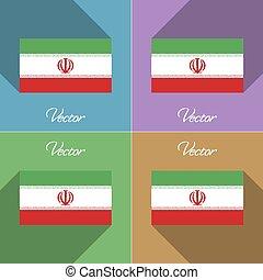 Flags Iran. Set of colors flat design and long shadows....