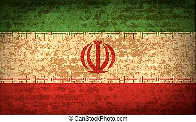 Flags Iran with dirty paper texture. Vector - Flags of Iran...