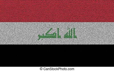 Flags Iraq on denim texture. Vector - Flags of Iraq on denim...