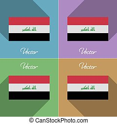Flags Iraq. Set of colors flat design and long shadows....