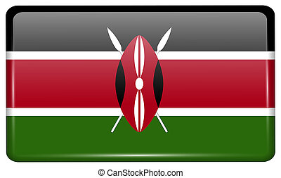 Flags Kenya in the form of a magnet on refrigerator with reflections light.