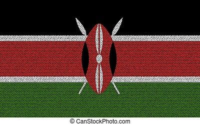 Flags Kenya on denim texture. Vector