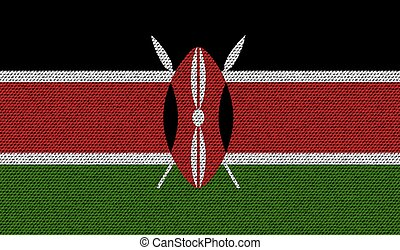 Flags Kenya on denim texture. Vector