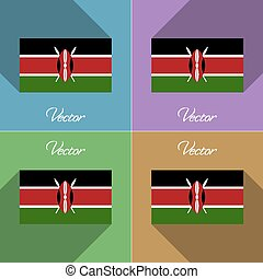Flags Kenya. Set of colors flat design and long shadows. Vector