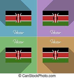 Flags Kenya. Set of colors flat design and long shadows. Vector