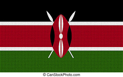 Flags Kenya with abstract textures. Rasterized