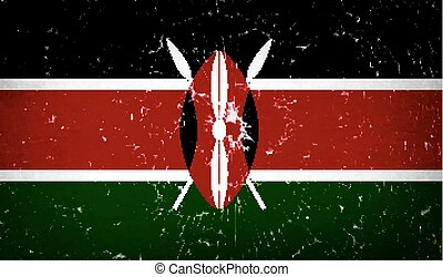 Flags Kenya with broken glass texture. Vector