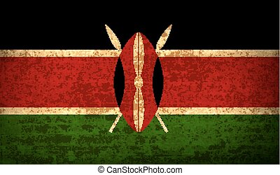 Flags Kenya with dirty paper texture. Vector