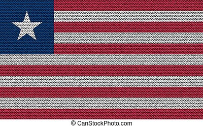 Flags Liberia on denim texture. Vector
