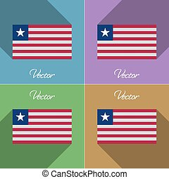 Flags Liberia. Set of colors flat design and long shadows. Vector