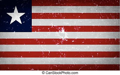 Flags Liberia with broken glass texture. Vector