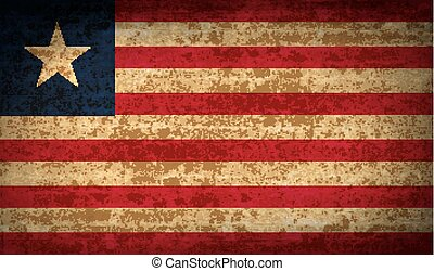Flags Liberia with dirty paper texture. Vector
