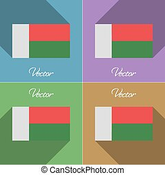 Flags Madagascar. Set of colors flat design and long shadows. Vector