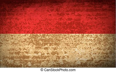 Flags Monaco with dirty paper texture. Vector - Flags of...