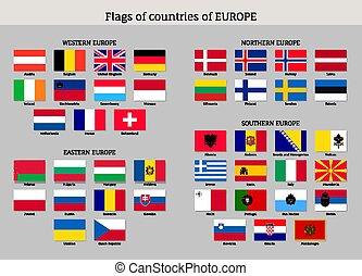 flags., national, ensemble, européen