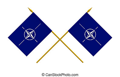 Flags, NATO - Two crossed flags of NATO, 3d render, isolated...