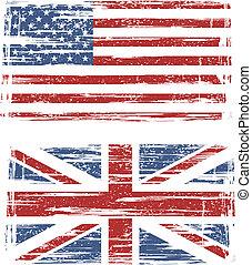 flags., norteamericano, vector, grunge, británico
