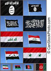 Flags of Al-Qaeda, Islamic State, Iraq, Syria,
