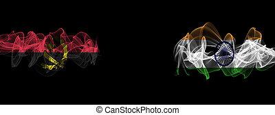 Flags of Angola and India on Black background, Angola vs India Smoke Flags