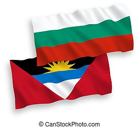 Flags of Antigua and Barbuda and Bulgaria on a white ...