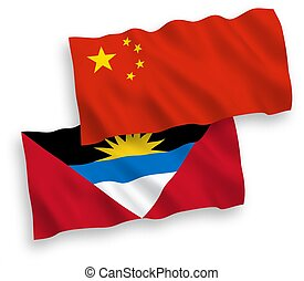 Flags of Antigua and Barbuda and China on a white background...