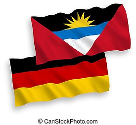 Flags of Antigua and Barbuda and Germany on a white ...