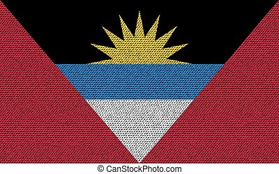 Flags of Antigua and Barbuda on denim texture. Vector