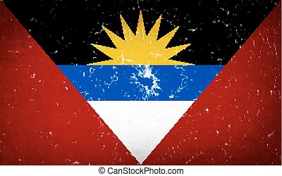 Flags of Antigua and Barbuda with broken glass texture. Vector