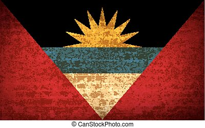 Flags of Antigua and Barbuda with dirty paper texture. Vector