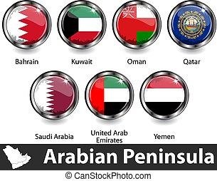Flags of Arabian Peninsula in glossy badges. Vector image