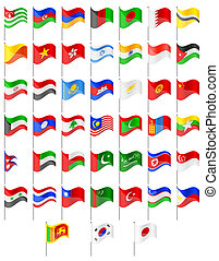 flags of Asia countries vector illustration
