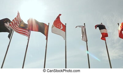 Flags of Asian countries in Asian games in Vietnam 2016. -...