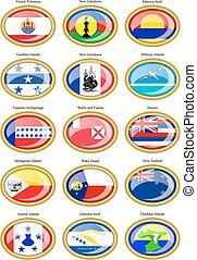 Flags of Australia, Oceania, Polyne - Set of icons. Flags of...